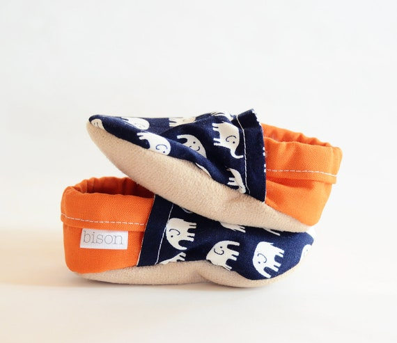 Elephant Parade Bison Booties size 6 to 12 months orange navy baby shoes for infant and toddler