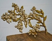 1960s Syroco Magnolia Dogwood Blossom Branch Wall Plaque