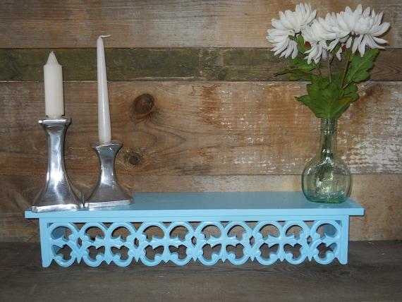 Turquois Aqua Blue Shelf Recycled Ornate Cottage Beach