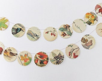 Autumn bunting, Fall Garland, fall wedding, recycled book,  upcycled scalloped garland , Country Diary of an Edwardian Lady - wedding decor