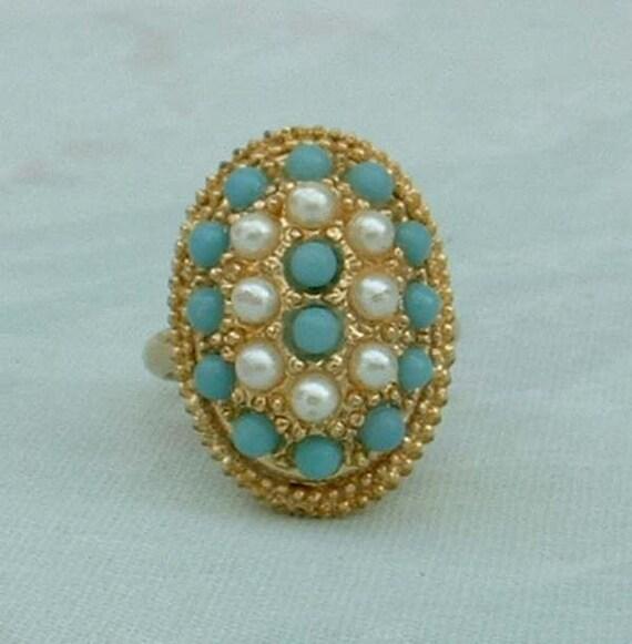 Turquoise Seed Bead Pearls Ring Adjustable Vintage Pearl Jewelry