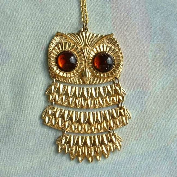 Goldette Owl Pendant Necklace Amber Eyed Articulated Vintage Jewelry