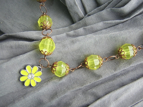 Yellow and Copper Daisy Flower Necklace Handmade by Rewondered