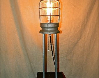 Repurposed Crouse Hinds Industrial Cage Table Lamp - Steampunk - Machine Age - 1930s-SALE