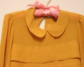 mustard peter pan collar tiered blouse