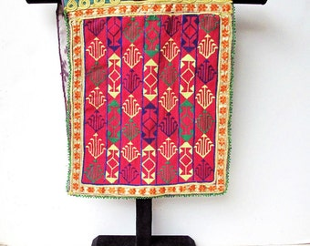 Afghanistan Textile: Vintage Hazara Hand Embroidery Child's Bib Lined with Ikat Silk by the Old Silk Route