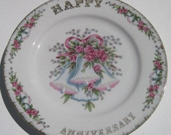 Happy Anniversary Vintage China Plate