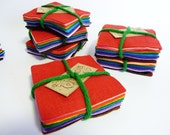 Rainbow world coloured  17 Mini Felt Squares from Inky Pixie