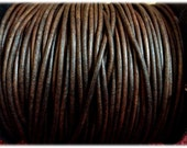 1.5 mm - 32.80 ft. Genuine leather round cord - Natural Antique Brown (10 Meters) A Quality