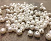 100 Wholesale 8 mm. Large Hole Freshwater Pearl Potato Beads - White 2 mm hole (G5430NWS100)