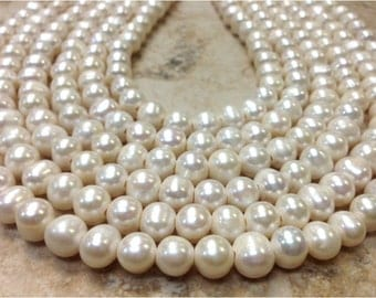 15.5 inch 9 mm Large Hole Freshwater Pearl Potato Beads - White 2.5 mm hole (G2143W5950)
