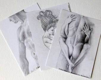 "Nude Series Postcard 4 3/16"" x 5 1/2"" (Set of 3) from Original Sensual Drawing by Masako"