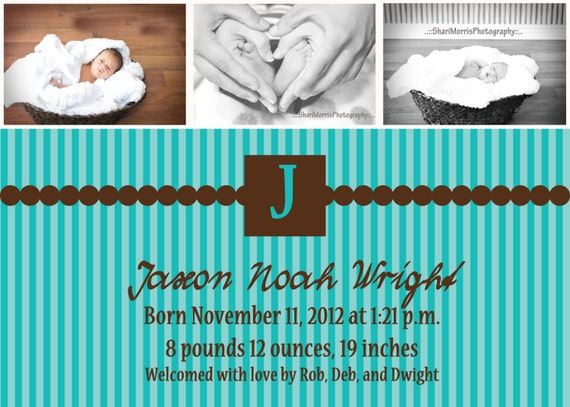 baby announcement template, custom design baby announcement, print your own announcement, 5 x 7
