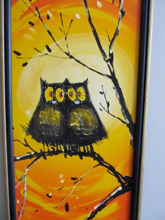 Vintage Kitsch Mid Century Sweet Orange Owl Painting