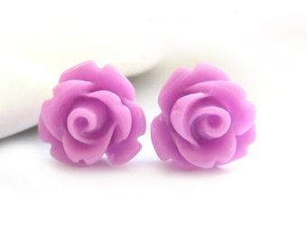 SALE - Purple Rose Stud Earrings