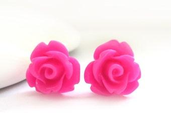 SALE - Hot Pink Rose Stud Earrings