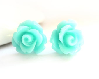 SALE - Light Aqua Blue Rose Stud Earrings