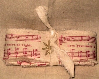 Muslin Christmas Music and Gold Star Vintage Hand Stamped Muslin Ribbon ECS