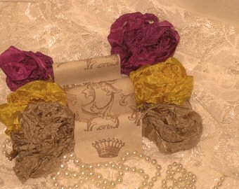 Scrunched Seam Binding ribbon,  Crinkled Seam Binding Package Jolie ECS