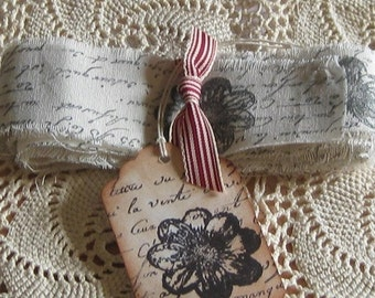 Handmade Vintage Muslin Ribbon with French Script and Flower