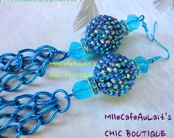 CLEARANCE Mediterranean Blue Czech Crystal, Aqua Rhinestone Bead and Chain Earrings- AQUA CALIENTE