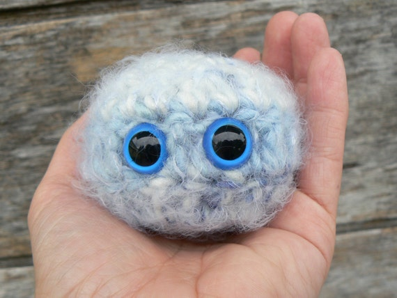 Blue Snow Scrappy Buddy Puff Ball with Blue Safety Eyes and Crocheted with Blue Striped Fuzzy Yarn