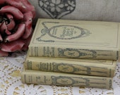 Reserved-----Set of 3 French books - creamy color - shabby look