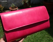 Fucsia leather purse, japanese fabrics inside and chain with Milagrito