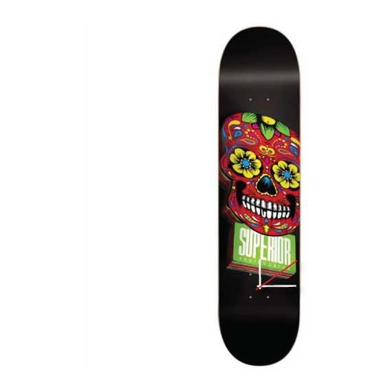 SUPERIOR Dia De Los Muertos Red Black Skateboard Pro Deck Clock -Ready to Ship-