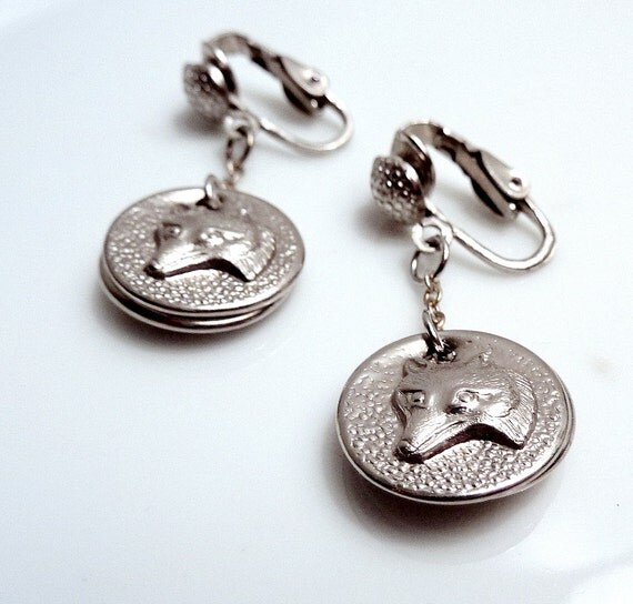 Fox Clip Earrings Vintage Dangle Drop Fox Charms Recycled Button Tops