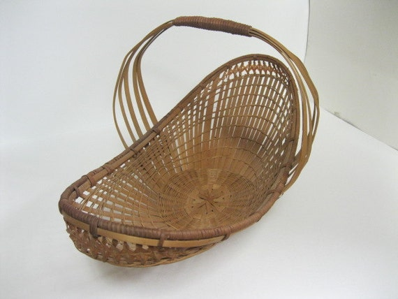 Vintage Wicker Woven Garden Basket for Wedding Flowers, Gathering of Garden Flowers & Vegetables or Creative Home Decor Old Victorian Style