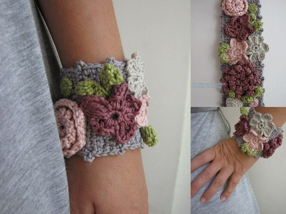 Blooming crochet bracelet - crocheted array of flowers-  pink, purple, gray - unique accessory -  statement bracelet - Made to order