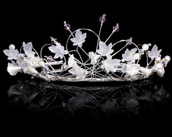 Fairytale Princess Tiara made with Swarovski crystals and Pearls. Silver Plated - Non Tarnish