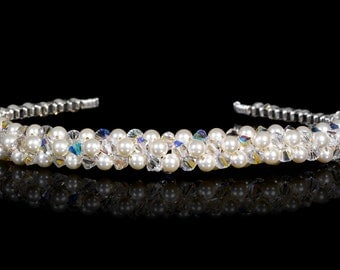 Vintage Look Crystal & Pearl Cluster Tiara made with Swarovski crystals and Pearls. Silver Plated - Non Tarnish