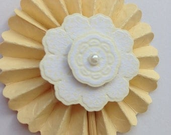 Yellow Flower & Pearl Cupcake Toppers