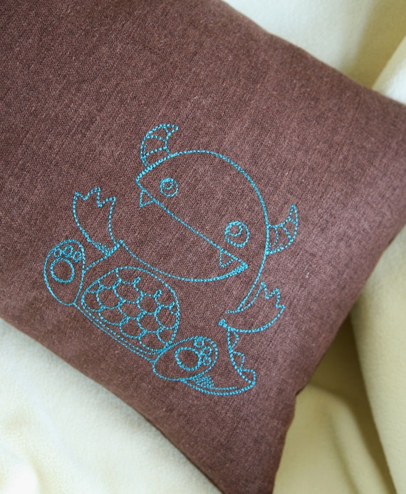 RESERVED FOR A. Flax Lumbar Pillow Cover - Snuggle Monster - 12x16 Embroidered Blue Monster on Dk Brown Linen