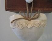 Sweet Organic Linen Heart ornie hanging ornament antique lace pillow romantic