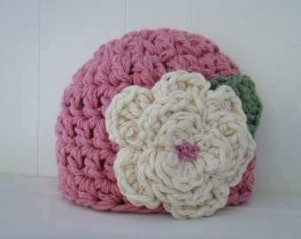 Crochet Pattern - Chunky Basic Beanie Hat (Newborn to Adult) with Crochet Flower