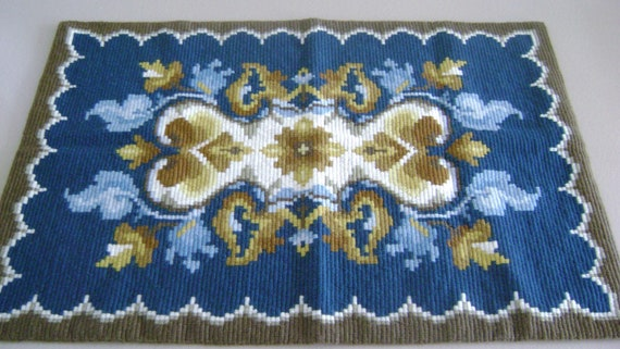 """Vintage Rug large needlepoint geometric design wool   from Sweden 23x33"""""""