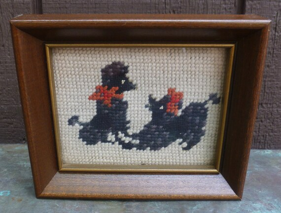 Poodles Needlepoint Framed Picture. So Cute. Vintage 1960s.