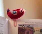 Bookmark Felt Magenta Bird Office Paperclip