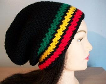 Rasta Hat Stocking Cap Slouchy Crocheted