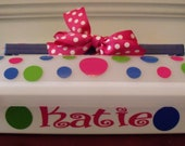 Large Personalzied Polka Dot Square Cake Carrier