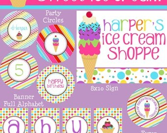 Ice Cream Party Package - Girl Birthday - PRINTABLE