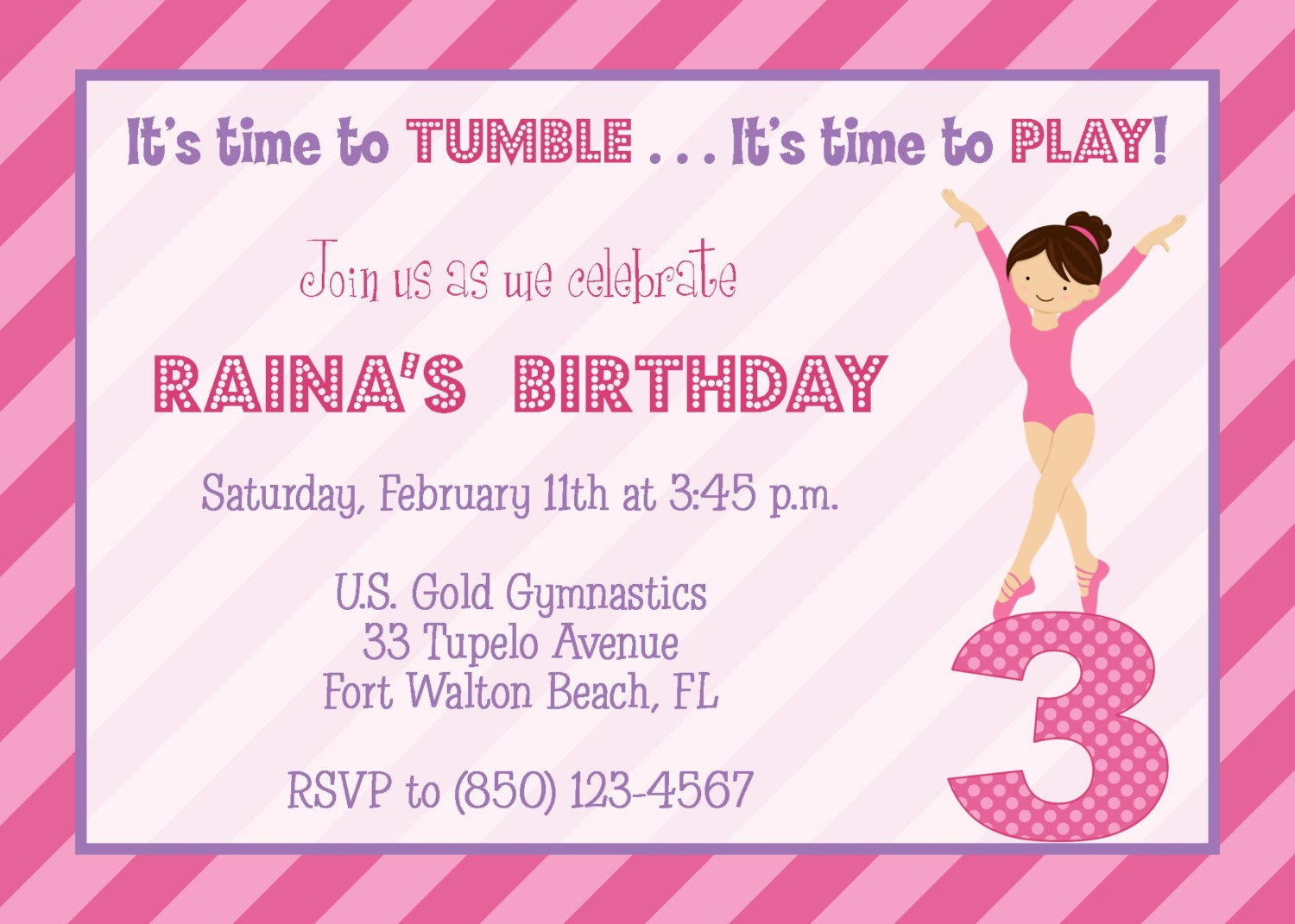 Gymnastics Pink Purple Party Invitation Girl Birthday – Gymnastics Party Invitation