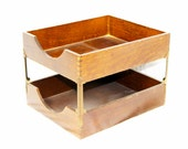 Vintage Industrial Wood Desk Organizer Tray with Dovetail Edges