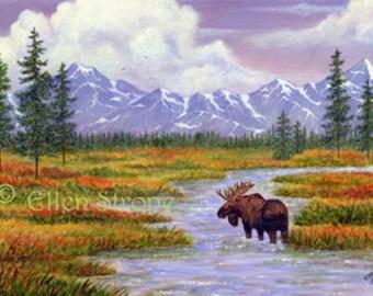 CARD, Moose, water, trees, mountains, clouds, bull moose, Alaska, Ellen Strope, paper goods, cabin decor, lodge decor