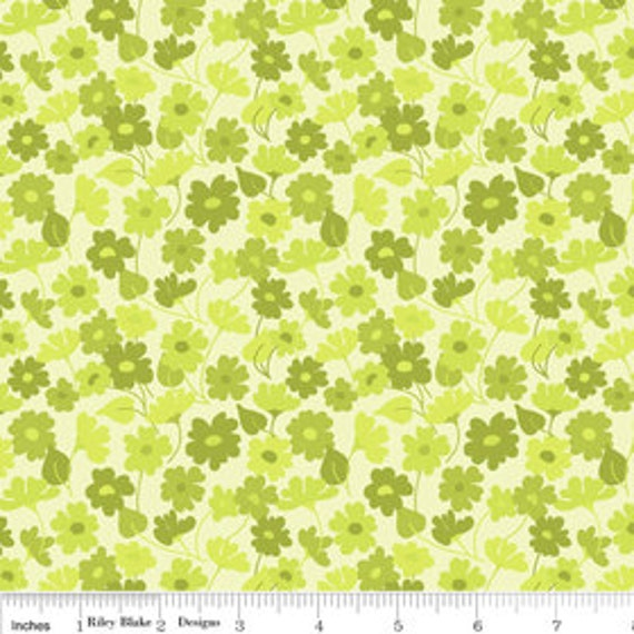 STORE CLOSING SALE - Riley Blake, Lila Tueller, Bohemian Festival, Sprout in Green - 1 Yard