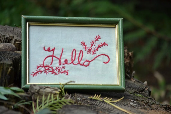 Reserved - Framed Hand Embroidery - Redwork Welcome