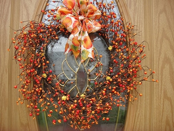 Autumn Berry Wreath For Fall Decoration  Silk BerriesWith A Ribbon Or Without Now On Sale